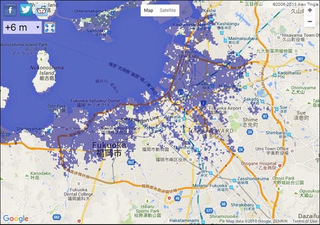 6 meter sea level rise Fukuoka.jpg