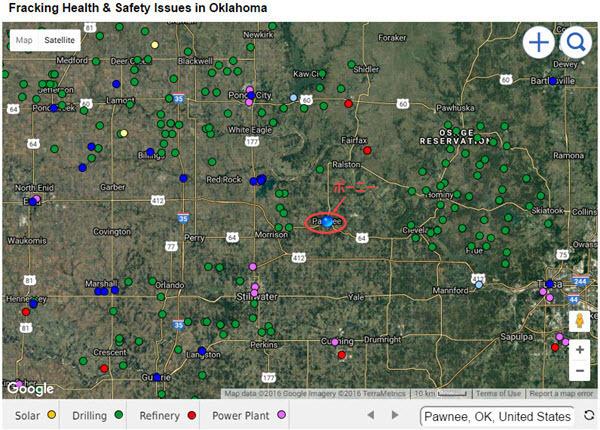 Pawnee OK earthquakes fracking map 20160902.jpg
